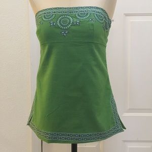 J. Crew Embroidered Handkerchief Linen/Cotton Top